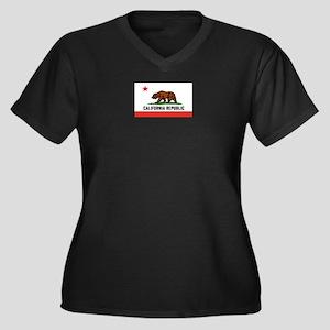 Flag of Cali Women's Plus Size V-Neck Dark T-Shirt