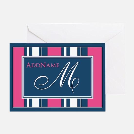 Navy Monogram Stripes Greeting Cards