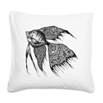 Black Lace Angel Fish Square Canvas Pillow
