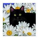 Black Cat Daisies Tile Coaster
