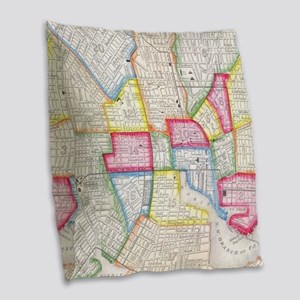 Vintage Map of Downtown Baltim Burlap Throw Pillow