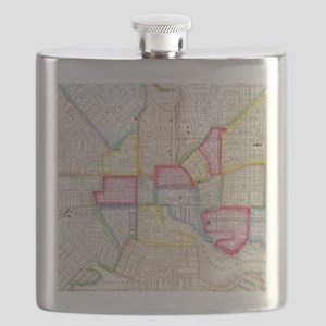Vintage Map of Downtown Baltimore (1860) Flask