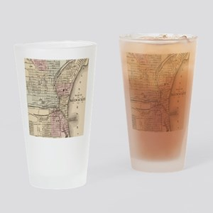 Vintage Map of Milwaukee (1880) Drinking Glass