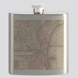 Vintage Map of Milwaukee (1880) Flask