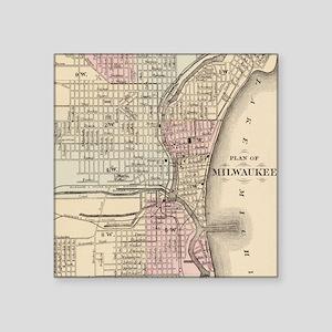 "Vintage Map of Milwaukee (1 Square Sticker 3"" x 3"""