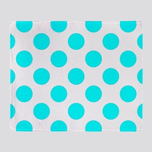 Classic Teal Polkadots Throw Blanket
