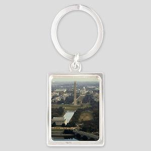 Washington DC Aerial Photograph Portrait Keychain