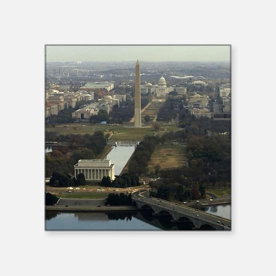 "Washington DC Aerial Photog Square Sticker 3"" x 3"""