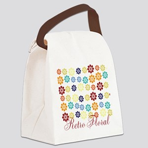Bright Retro Floral Canvas Lunch Bag