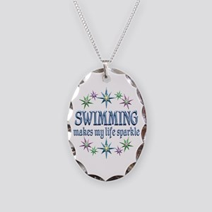 Swimming Sparkles Necklace Oval Charm