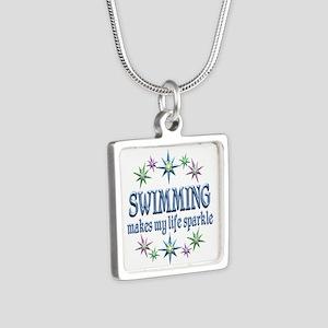 Swimming Sparkles Silver Square Necklace