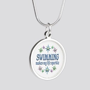 Swimming Sparkles Silver Round Necklace