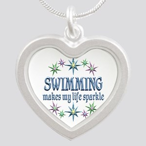 Swimming Sparkles Silver Heart Necklace