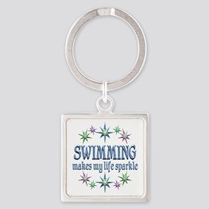 Swimming Sparkles Square Keychain
