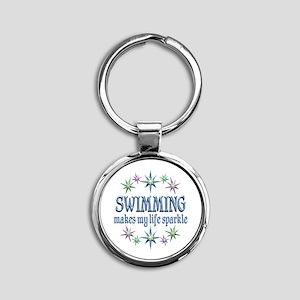 Swimming Sparkles Round Keychain