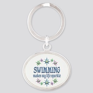 Swimming Sparkles Oval Keychain