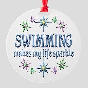 Swimming Sparkles Round Ornament