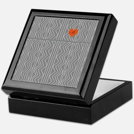 Grey Cream Arrowheads Stitch Pattern Keepsake Box