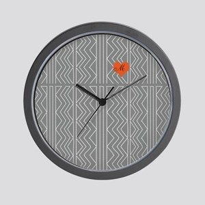 Grey Cream Arrowheads Stitch Pattern Wall Clock
