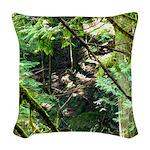 forest light Woven Throw Pillow