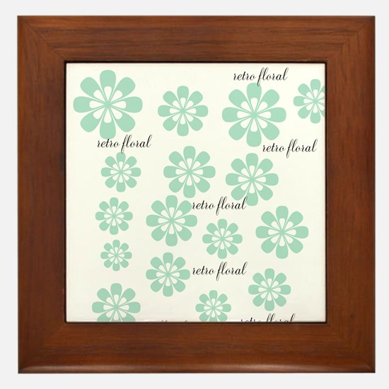 Retro Floral Fashion Mint Green White Pattern Fram
