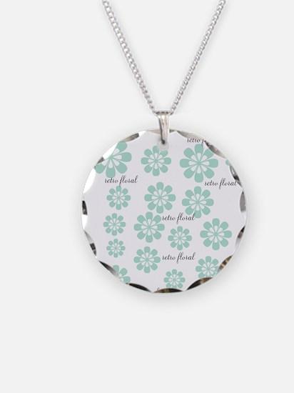 Retro Floral Fashion Mint Green White Pattern Neck