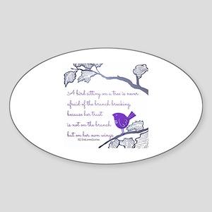 Her own wings Sticker (Oval)