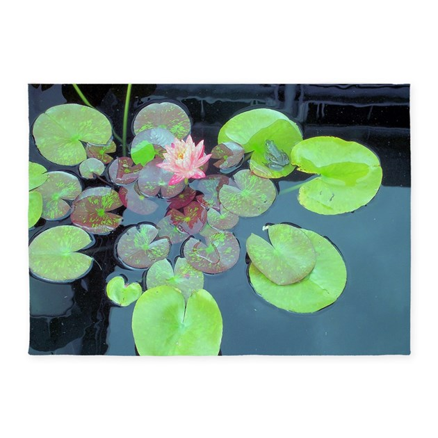 Lily Pads With Frog 5'x7'Area Rug By Suit_yourself