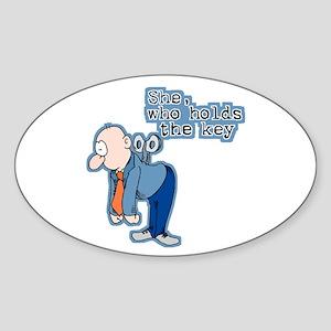 She Who Holds The Key Oval Sticker