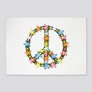 Peace Flowers 5'x7'Area Rug