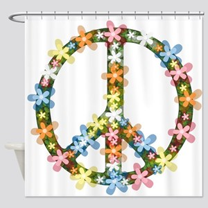 Peace Flowers Shower Curtain