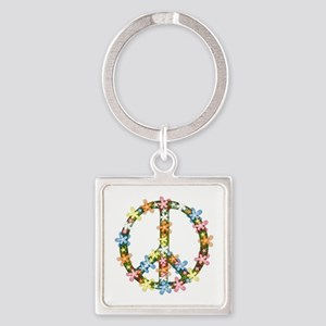 Peace Flowers Square Keychain