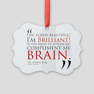 Screw Beautiful! I'm Brilliant! Picture Ornament