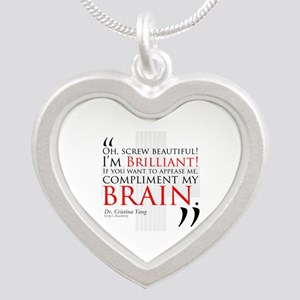 Screw Beautiful! I'm Brilliant! Silver Heart Neckl