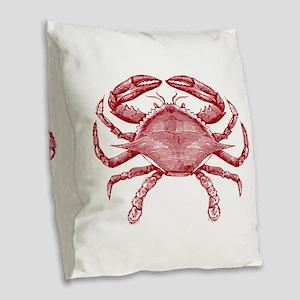 Vintage Crab Burlap Throw Pillow