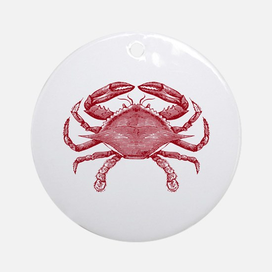 Vintage Crab Ornament (Round)