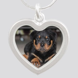 rottweiler Silver Heart Necklace