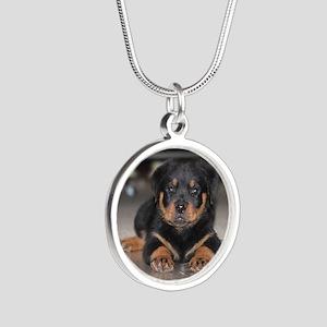 rottweiler Silver Round Necklace