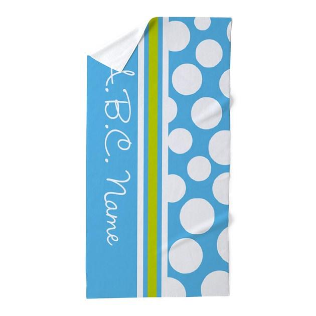 Sky Blue & Green Polka Dots & Monogram Beach Towel By