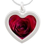 Red Rose Silver Heart Necklace