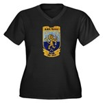 USS BARBEY Women's Plus Size V-Neck Dark T-Shirt