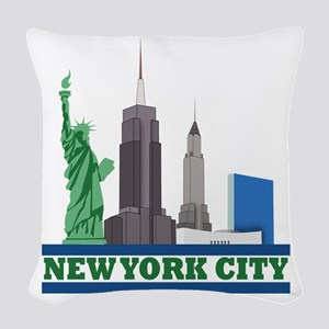 New York City Skyline Woven Throw Pillow
