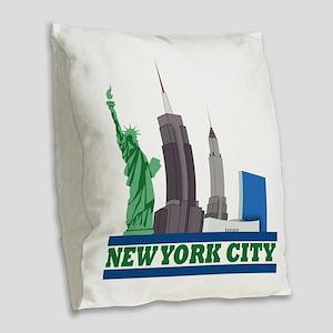 New York City Skyline Burlap Throw Pillow