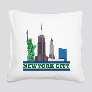 New York City Skyline Square Canvas Pillow