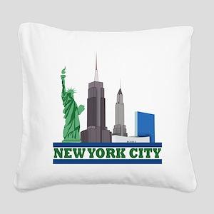 New York City Skyline Square Canvas Pillow