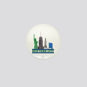 New York City Skyline Mini Button