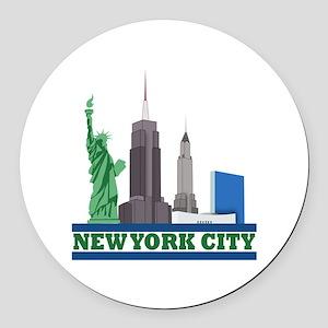 New York City Skyline Round Car Magnet