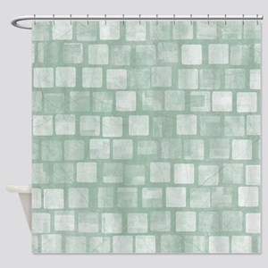 Light Green Blocks Shower Curtain