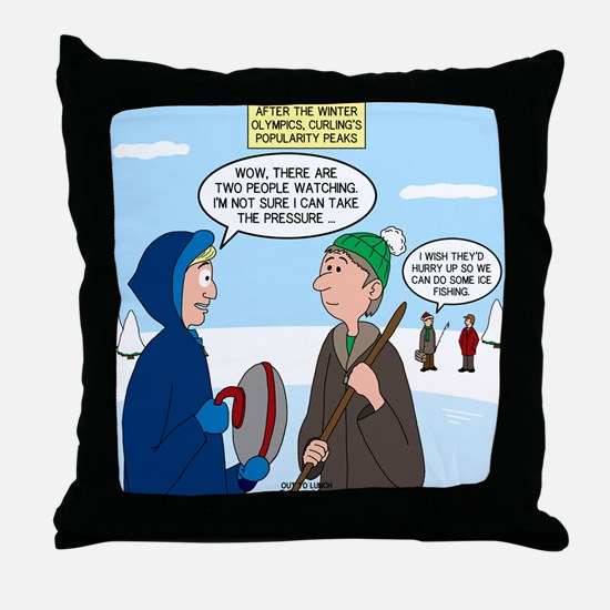 Ice Curling Popularity Throw Pillow