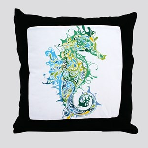 Paisley Seahorse Throw Pillow